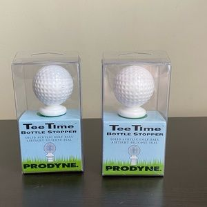 2  New Tee Time Acrylic Golf Ball Bottle Toppers